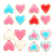 Set of colorful glossy plastic hearts isolated