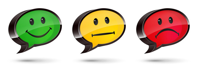 3D Speech Bubbles With Smileys