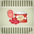 vintage postcard - sweet candy on grunge background