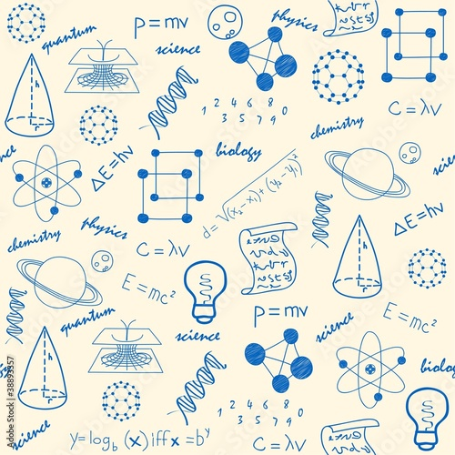 Hand Drawn Seamless Science Icons