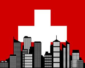 City und Fahne der Schweiz