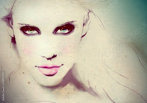Fashion illustration of a young girl - 38893917