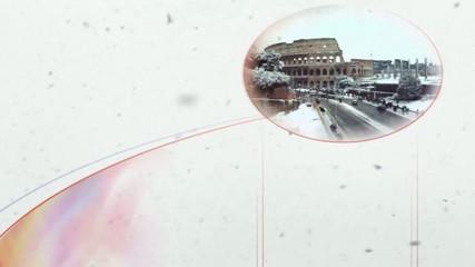 fiocchi di neve sul colosseo
