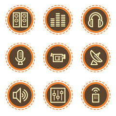 Media web icons, vintage buttons