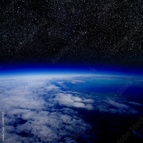 High altitude view of the Earth in space.