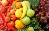 Fototapety obst und gemüse, regenbogenfarbig angeordnet