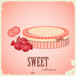 vintage postcard - sweet candy on pink background
