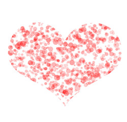 Art symbol of heart made from pink bubbles - isolated on white