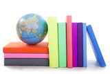 Geography books with a globe poster