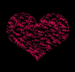 Symbol of red heart over black background