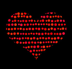 Love. Conceptual symbol of red heart with bubbles