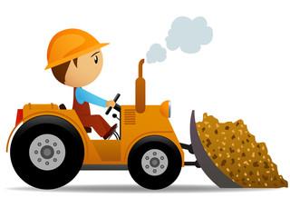 Cartoon bulldozer at construction work