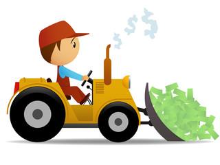 Cartoon bulldozer moving the money