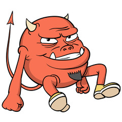 Cartoon red devil in shoes