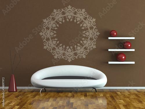 wohndesign modernes sofa vor brauner wand von virtua73 lizenzfreies foto 38897972 auf. Black Bedroom Furniture Sets. Home Design Ideas
