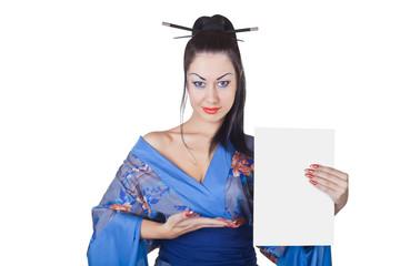 Beautiful woman in a kimono with blank billboard