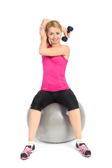 Seated Dumbbell One Arm Triceps Extensions on Fitnes Ball, phase