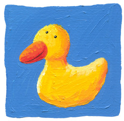 Cute yellow duck on the blue background