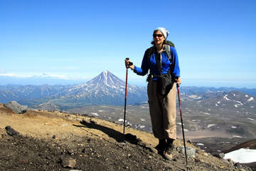 Hiking up Gorely Volcano in Kamchatka, Russia
