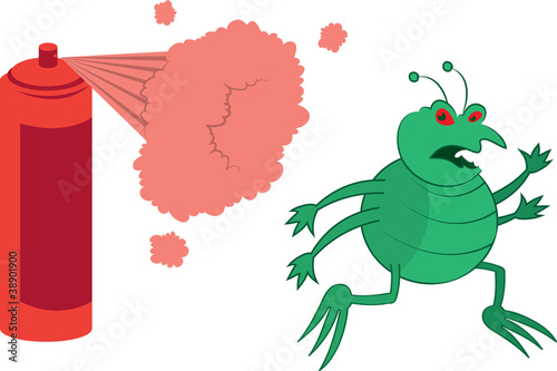 Isolated cartoon green bug running away from spray