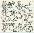 Doodle Sketch Animal Vector Illustration Set