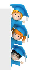 3D render of kids and blankboard