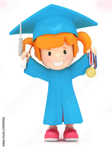 3D render of a girl with medal