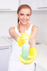 housewife with detergent