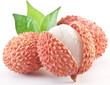 Lychee with leaves on a white background.