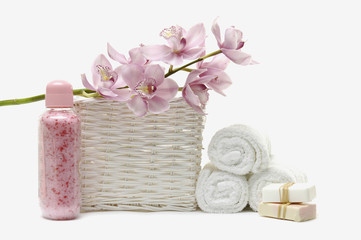 bath accessories in the basket. With towels with handmade soap
