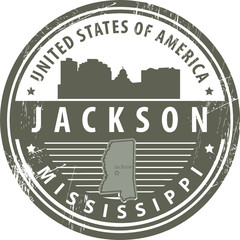 Stamp with name of Mississippi, Jackson, vector