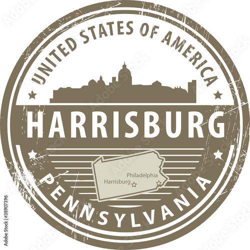 Stamp with name of Pennsylvania, Harrisburg, vector