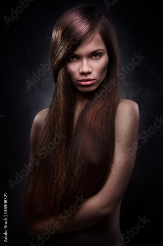 attractive young woman with long hair