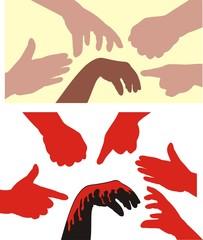racism - human hands