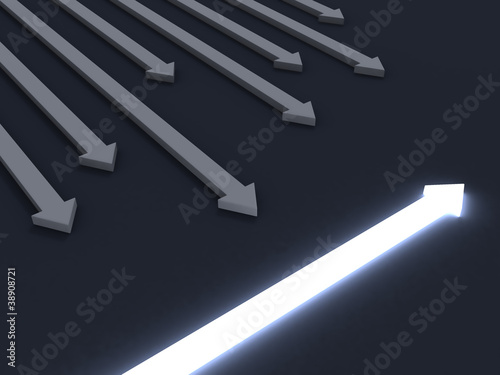 light across arrow. individuality business concept