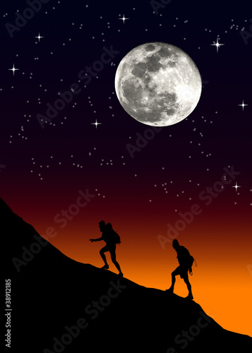 Climbing a mountain on moon background