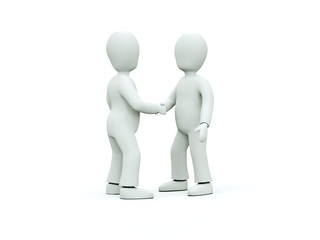 Two 3D characters in ties shake hands on a white background