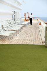 Crew Sunchairs on the deck Mediterranean cruiser