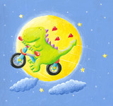 Cute dragon in love flying on a bicycle to the moon
