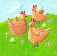 Three funny hens