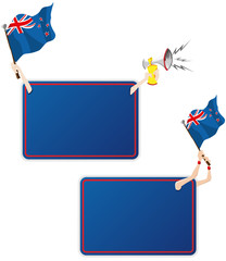 New Zealand Sport Message Frame with Flag. Set of Two
