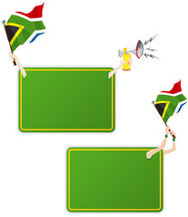 South Africa Sport Message Frame with Flag. Set of Two