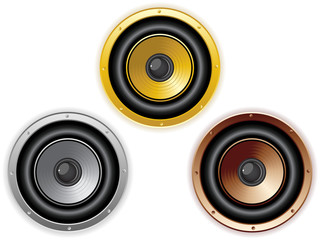 Round Isolated Sound Speaker. Set of 3 colors