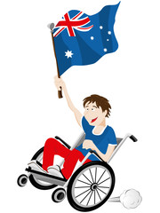 Australia Sport Fan Supporter on Wheelchair with Flag