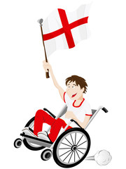 England Sport Fan Supporter on Wheelchair with Flag