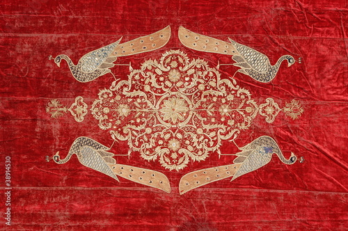 Red silk fabric ,traditional textile ,Rajasthan, India