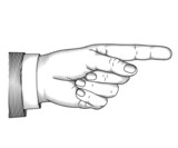 Hand with pointing finger. Vector illustartion in graphic style