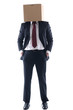 business man with an box on his head