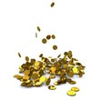 Falling dollar gold coins. 3D rendering