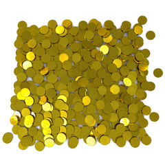 Many gold dollar coins. 3D rendering